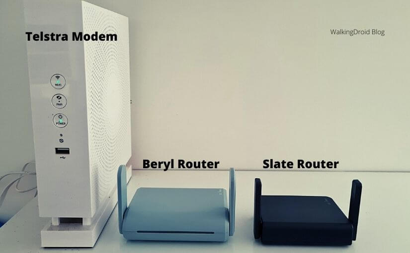 Telstra Modem, Beryl Router and Slate Router Images